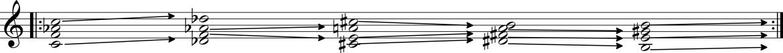 Example 3b. Harmonic diagram: Knee Play 2, line 3, from Einstein on the Beach