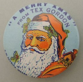 Merry Christmas From Tex Gordon badge, c.1950s. [1986.172.277] Holden Brothers Circus Collection. Performing Arts Collection, Arts Centre Melbourne.