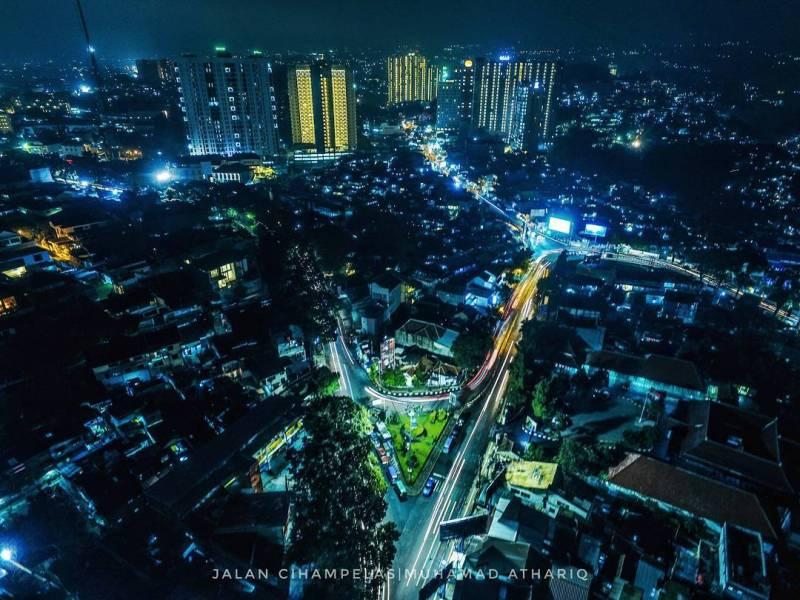 Foto udara sekitar Jalan Cihampelas Bandung via IG @muhamad_athariq