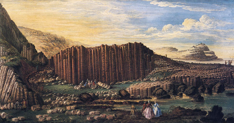 giant's-causeway-finn-mccool-legends-myths-geology-nature-landscapes-travel-northern-ireland-giants-basalt-columns-erosion-volcano-susanna-drury-art-painting-science