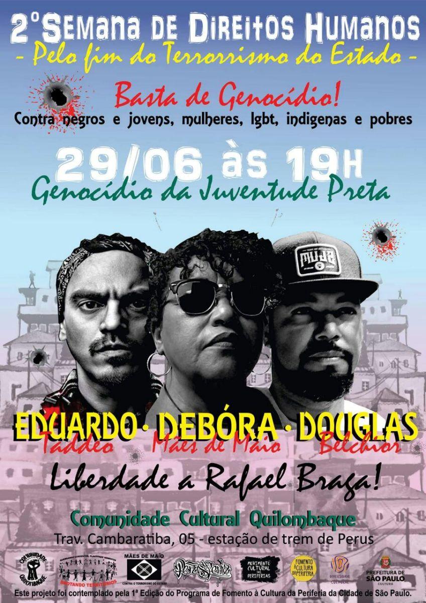 Basta de Genocídio! Veja a programação da 2ª Semana de Direitos Humanos de Perus