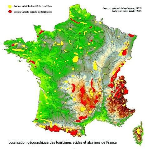 Carte des tourbières en France