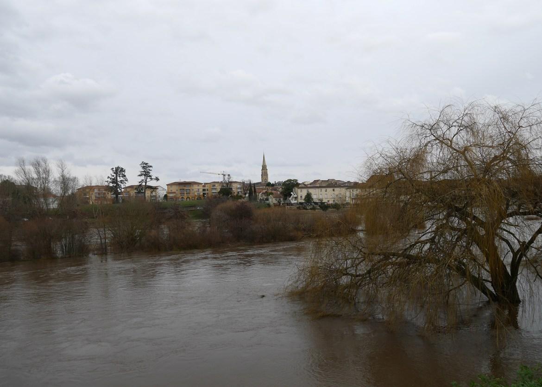 Dordogne en crue à Bergerac (janvier 2018)