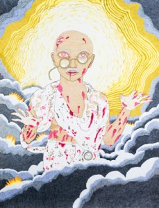 Gandhi Returns (self-portrait) 2013 Felt-tip marker, coloured pencil and acrylic paint pen on Stonehenge cotton paper 127 x 97cm.  Courtesy of artist.