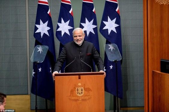 Indian Prime Minister Nerendra Modi address the Australian Parliament