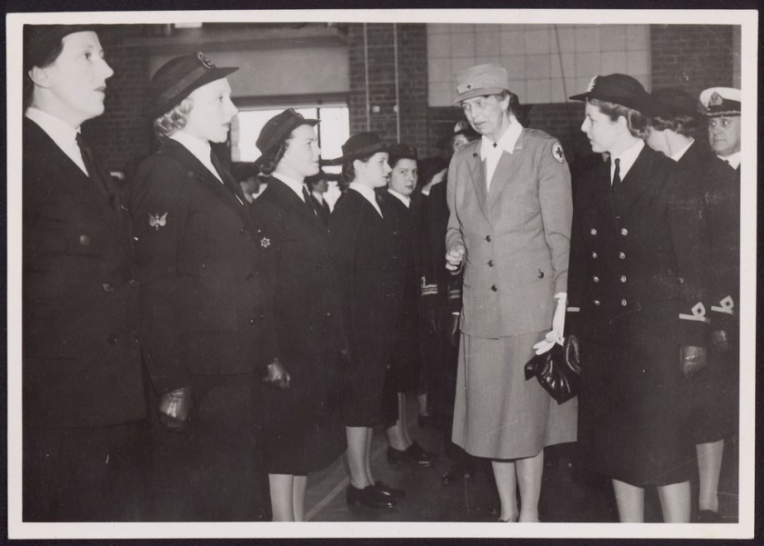 Mrs. Eleanor Roosevelt in Melbourne, inspecting a W.R.A.N. guard of honour at a naval base, 1943 Sep. 8. Leader, Melbourne (www.slv.vic.gov.au)