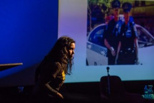 Tania Canas' satirical introduction to the panel, Displacing Whiteness in the Arts. Image credit: Bryony Jackson