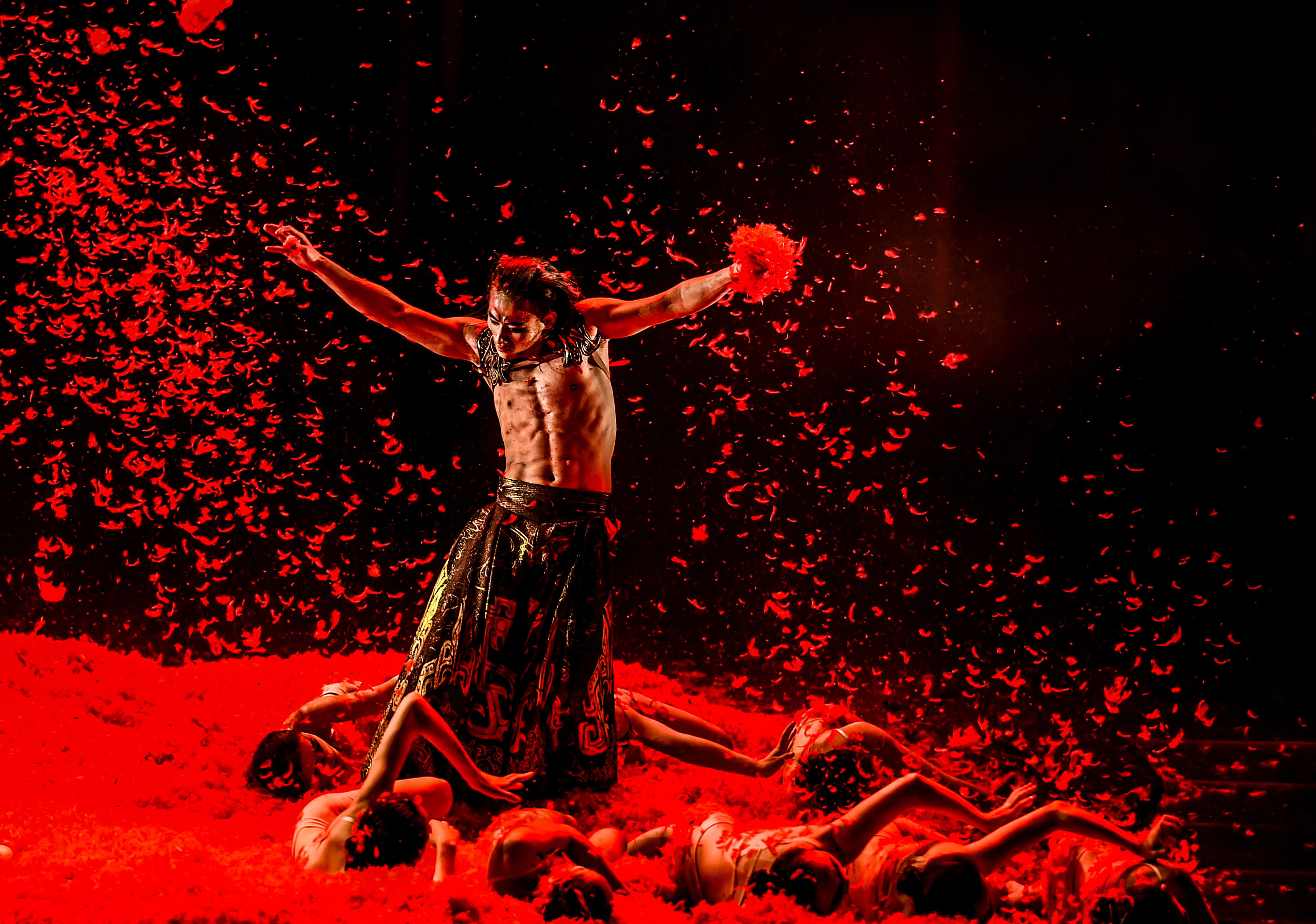 Dancer with red background