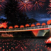 Fire works over bridge Oz Asia Festival