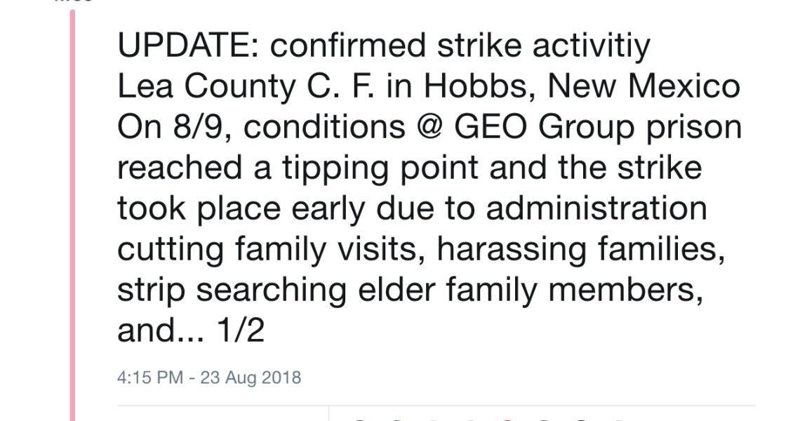 2018 National Prison Strike: Lea County Correctional Facility, New Mexico