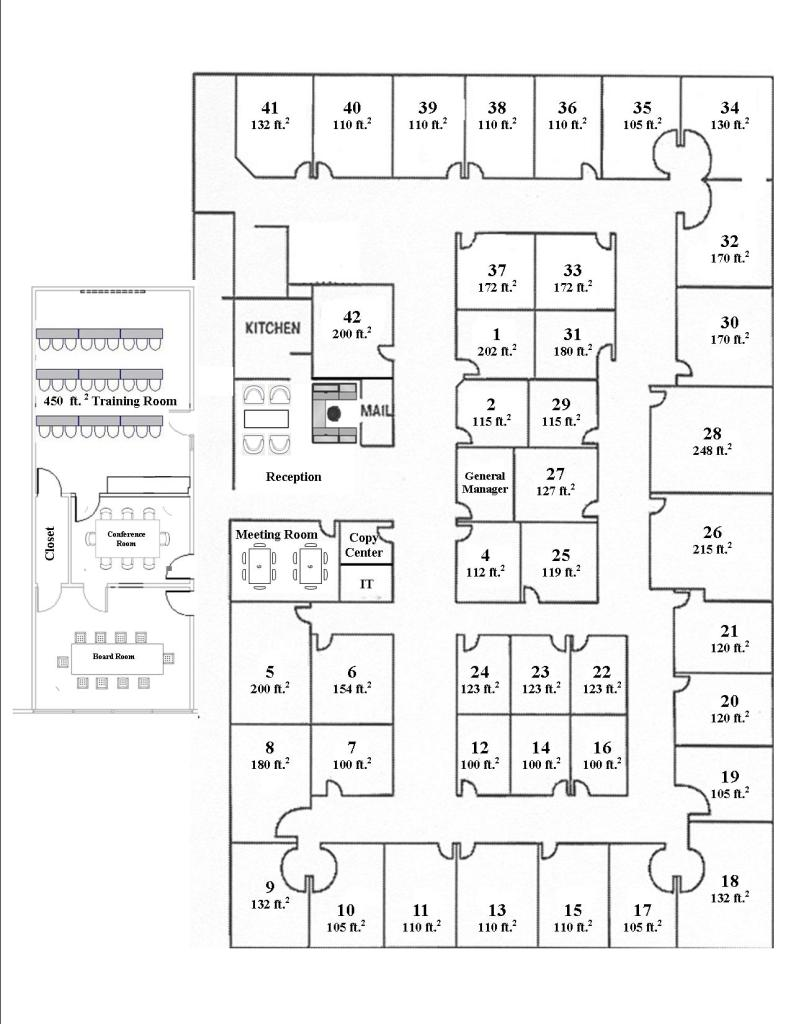 Floor plan for Nashville Office Space at Perimeter Park Executive Center