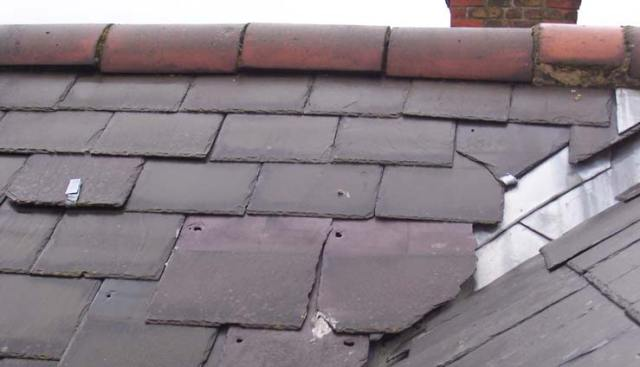 Damaged Victorian Roof Tiles