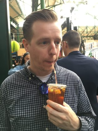 Mr. PC drinking a Pimm's cup