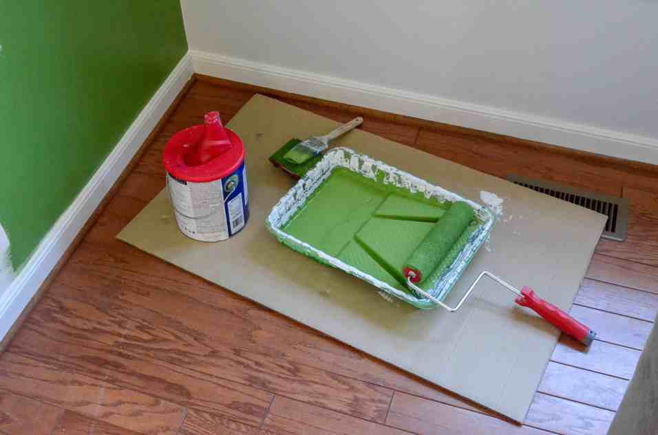 paint set up with roller, brush, and edger