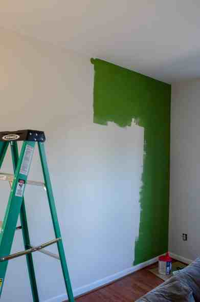 painting green accent wall