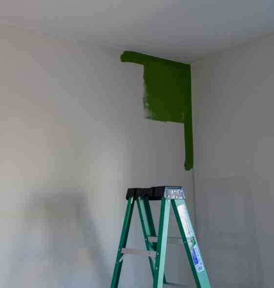 starting to paint green accent wall