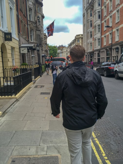 Mr. PC walking through London