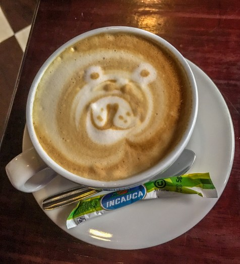 coffee with a bear made from milk