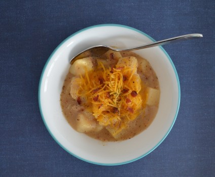 bowl of potato soup with bacon