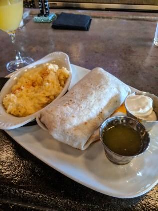 chorizo breakfast burrito and cheese grits