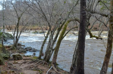 the flowing Eno River