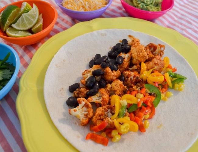 healthy cauliflower and black bean burrito