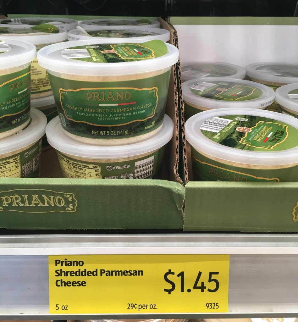 shredded parmesean in a resealable container