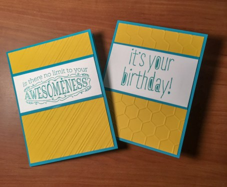 "yellow and teal cards using ""Big News"" stamp set"