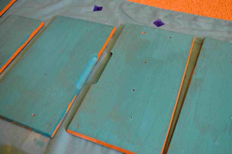 transforming orange oak cabinets to pretty teal