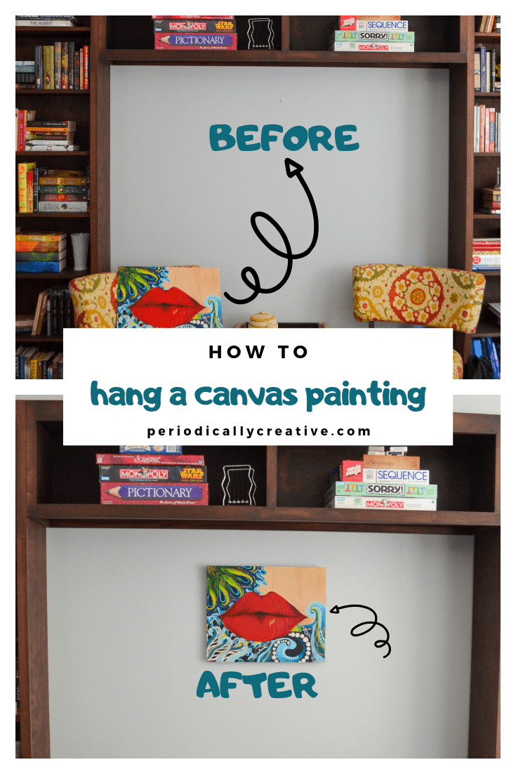 An easy way to hang a canvas painting without damaging your walls. You just need to secure a few things to the back of your canvas. #homedecor #diy #art