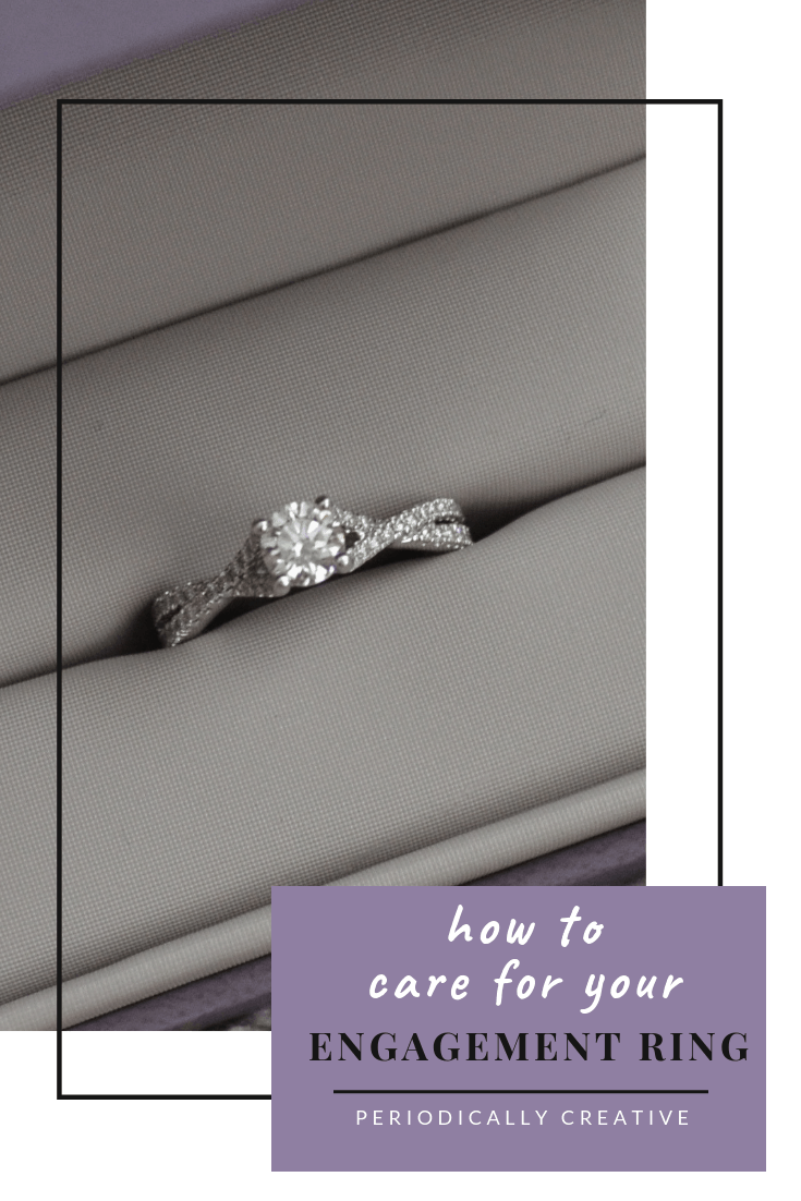Your engagement ring can be easily damaged by household substances. Learn how to properly care for it to keep it looking shiny forever. #engaged #engagementring #justengaged