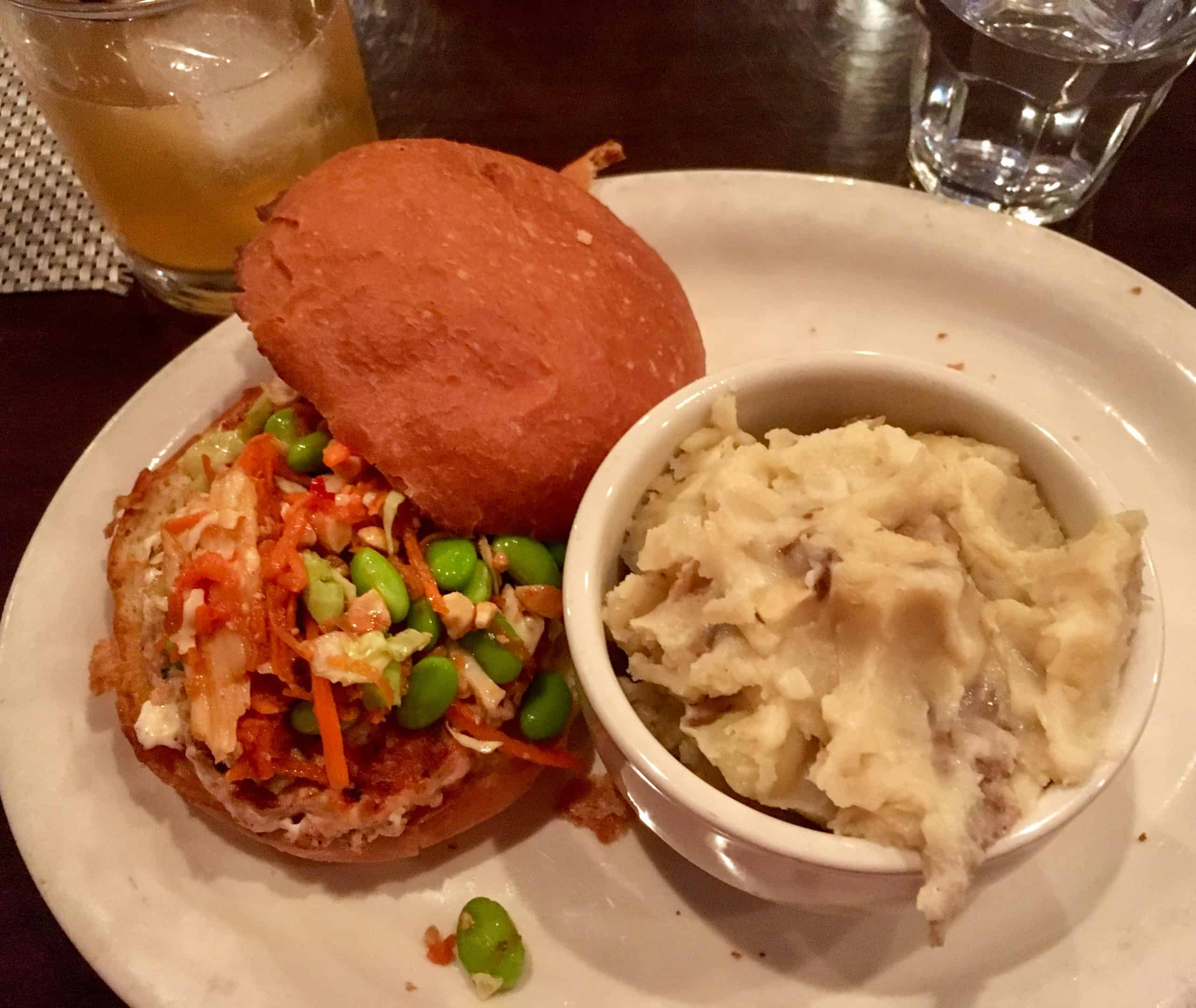 Hutch's Thai Salmon burger pairs perfectly with mashed potatoes