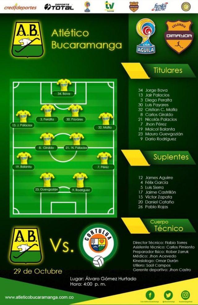Equipo inicialista de Atlético Bucaramanga. /FOTO ATLÉTICO BUCARAMANGA