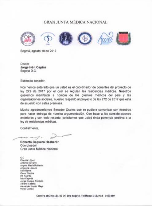 Carta por parte de los promotores del proyecto de ley, dirigida al senador de la Alianza Verde, médico y ex director del Hospital Universitario Del Valle, Jorge Ivan Ospina, quien ha dificultado el el proceso en el Congreso de la República. FOTO/FACEBOOK.