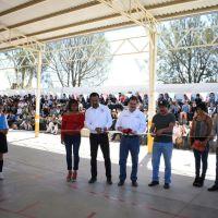 Otra más de Antorcha... estrenan cancha multiusos en primaria de Martínez Domínguez