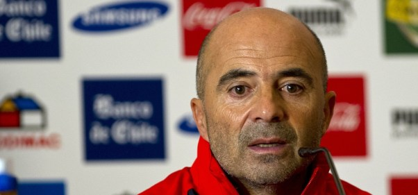 The newly appointed Chile's football team coach, Argentine Jorge Sampaoli speaks during a press conference in Santiago, Chile, on December 03, 2012.   AFP PHOTO/Martin BERNETTI        (Photo credit should read MARTIN BERNETTI/AFP/Getty Images)