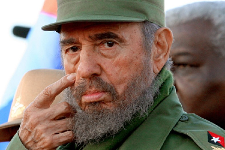 (FILES) Cuban President Fidel Castro gestures during a public rally in homage of the Cuban nationals killed in terrorist attacks 06 February, 2006 in Havana. Fidel Castro resigned on February 19, 2008 as president and commander in chief of Cuba in a message published in the online version of the official daily Granma. AFP PHOTO/Adalberto ROQUE CUBA-CASTRO-RESIGNATION CUBA-CASTRO-RESIGNATION