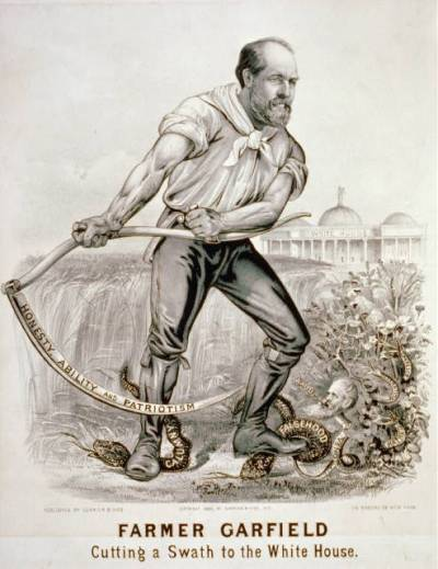Jag, Farmer Garfield - Cutting a Swath to the White House, lithograph by Currier & Ives, c.1880