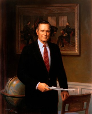 George H. W. Bush Official Portrait - The Periodic Table of the Presidents