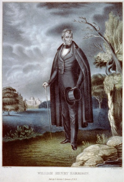 William Henry Harrison, hand-colored lithograph by J. McGee, published by N. Currier, 1835-36 LOC