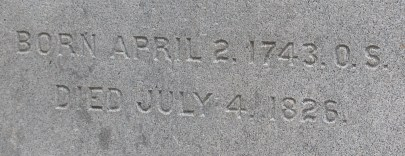Jefferson - Gravestone - Birth & Death