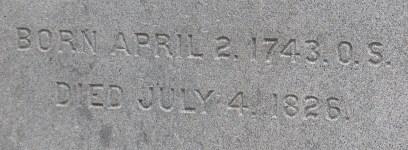 Jefferson - Gravestone - Birth & Death