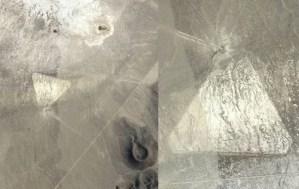 """Googl Earth expone un enorme triángulo en el desierto de Nevada, provocando afirmaciones de """"ovni estrellado"""""""