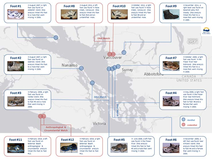El misterio de los pies mutilados que aparecen en la costa de Canadá