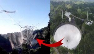 Momento exacto del colapso del radiotelescopio de Arecibo en Puerto Rico