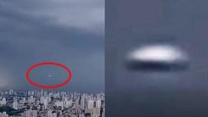 Ovni visto en vivo en una tormenta en un noticiero brasileño