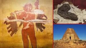 Antiguo mural en las pirámides de Nubia representa a un gigante cargando dos elefantes