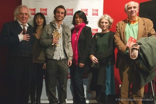 Jurado del Festival de Cine Peruano de París. De izquierda a derecha: Christian Gasc, Maria de Medeiros, Adrián Saba, Jovita Maeder, Catherine Legave, Julio Feo Zarandieta.