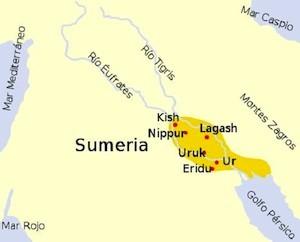 Mapa de la antigua Sumeria