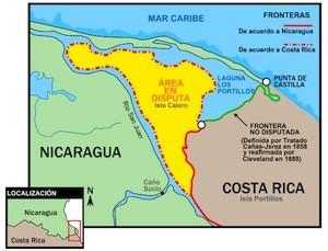 El territorio en amarillo es la zona que Nicaragua y Costa Rica reclaman de su territorio.